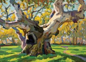 Corey Peters, The Agape Oak, oil, 9 x 12.