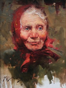 Jeffrey Watts, Babushka, oil, 16 x 12.