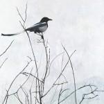 Leslie Allen, Magpie Series #8, Solitaire, oil, 36 x 36.
