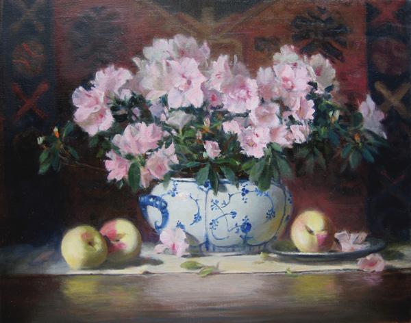 Joan Potter, Azaleas, oil, 16 x 20.