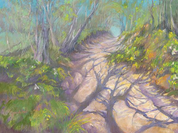 Jane Ditri, Spring Shadows, pastel, 9 x 12.