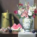 Joan Potter, Hollyhocks, oil, 25 x 30.