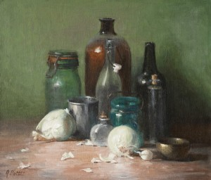 Joan Potter, Metal and Glass, oil, 16 x 19.