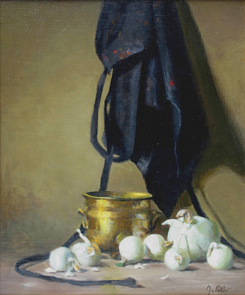 Joan Potter, The Painter's Apron, oil, 12 x 9.