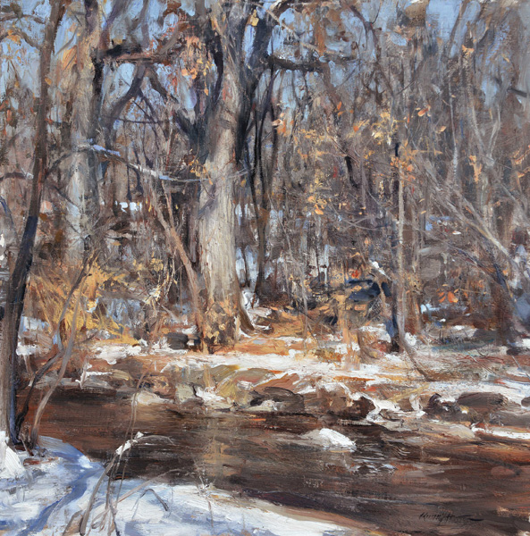 Quang Ho, Bank of the Cherry Creek, oil, 20 x 20.