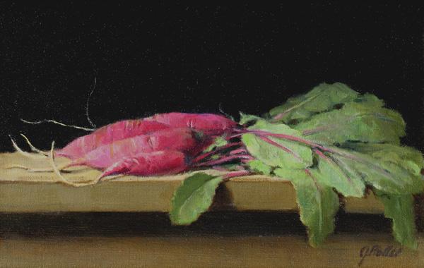 Joan Potter, Radishes, oil, 9 x 14.