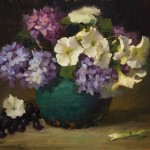 Elizabeth Robbins, Hydrangeas and Petunias, oil, 14 x 18.