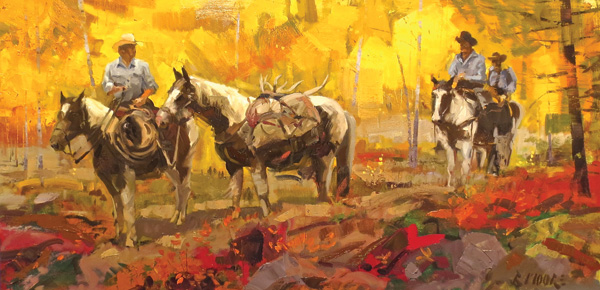 Robert Moore, Bounty, oil, 24 x 48.