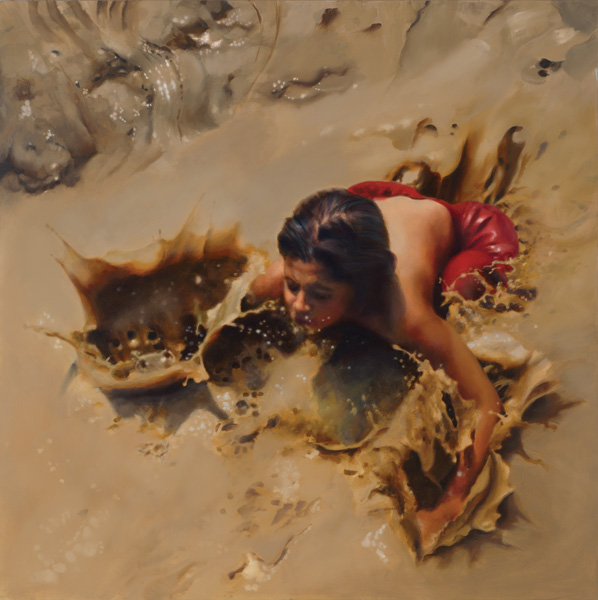 Teresa Elliott, Splash, oil, 30 x 30.