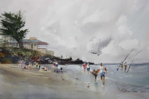 David Savellano, Carmel: 63 Degrees and Partly Cloudy, watercolor, 12 x 18.