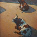 Howard Post, Sitting Bulls, oil, 40 x 30.