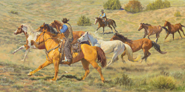 Kay Witherspoon, Turning the Herd, 14 x 28.