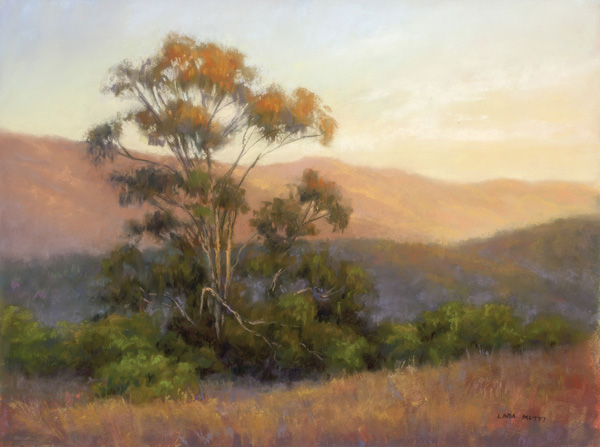 Linda Mutti, Evening Glow, pastel, 12 x 16.
