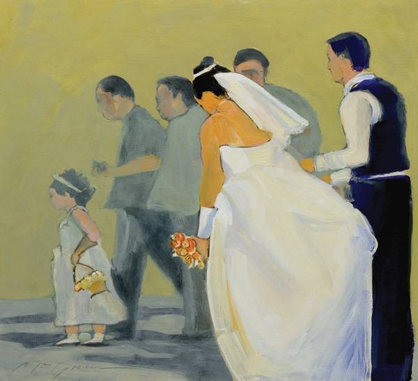 Peggy McGivern, The Wedding Procession, mixed media, 16 x 16.