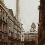 Jonathan Ahn, Avenue Bosquet, oil, 48 x 24.
