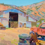Marcia Burtt, Barn at Walking R Ranch, acrylic, 20 x 30.