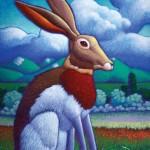Ray-Mel Cornelius, Pondering Jackrabbit, acrylic, 14 x 11.