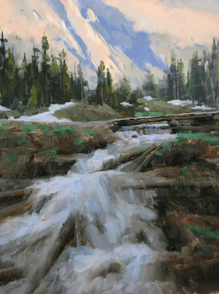 Dave Santillanes, Down From Thunder Pass (Study), oil, 16 x 12.