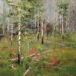 Michael Wise, Paintbrush and Aspens, oil, 28 x 40.