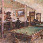 Todd A. Williams, Bar & Billiard Room, 1892, Dawson County, oil, 12 x 16.