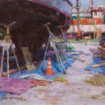 Ned Mueller, Seattle Boatyard, oil, 8 x 10.