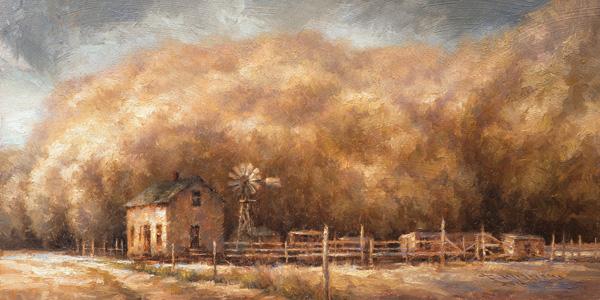 Todd A. Williams, Dust Bowl, 1935, Deuel County, oil, 12 x 24.