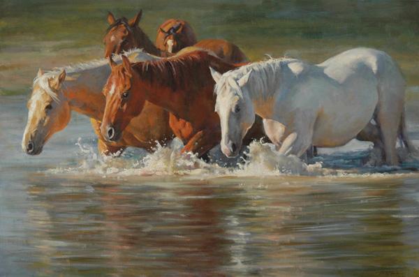 Phil Beck, Makin' a Splash, oil, 24 x 36.