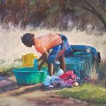 Toni D. Danchik, Washing Day, oil, 24 x 30.