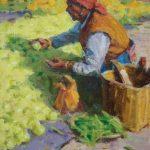 Ned Mueller, Chinese Fruit Market, oil, 10 x 8.