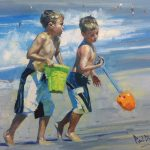 Paul Cheng, Beach Brothers, oil, 20 x 24.