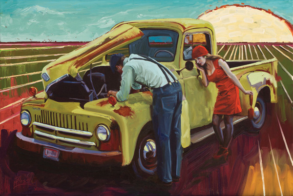 Michael Blessing, Reservations at Eight, oil, 24 x 36.