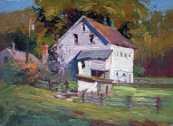 Debra Joyce Dawson, Chez Moo, oil, 6 x 8.