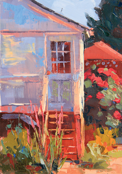 Lynn Dunbar, Looking Out My Back Door, oil, 7 x 5.