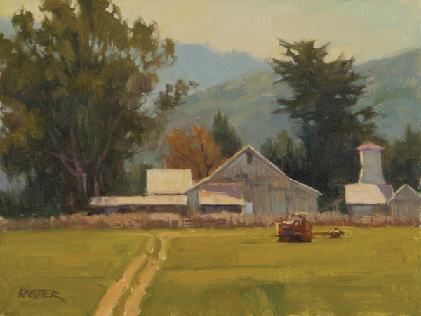 Paul Kratter, Working the Field, oil, 9 x 12.