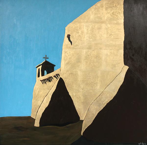 Alvin Gill-Tapia, Ranchos de Taos III, acrylic, 37 x 37.