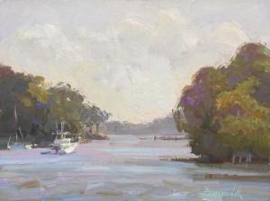 Camille Przewodek, Evening Boats, oil, 9 x 12.