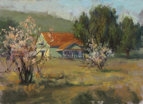 Karen Leoni, Apple Blossoms, oil, 12 x 16.