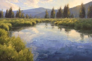 Stacey Peterson, Headwaters, oil, 24 x 36.