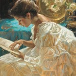Gladys Roldan-de-Moras, The Good Book, oil, 24 x 30.