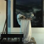 Daniel Sprick, Through My Fingers, oil, 60 x 60.