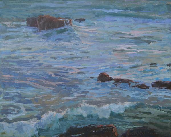 Rachel Uchizono, Afternoon Surf, oil, 16 x 20.