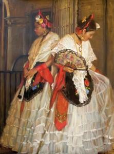 Gladys Roldan-de-Moras, Veracruz Dancers, oil, 48 x 36.