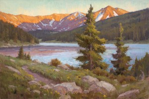 Chris Morel, Sunset Lake, oil, 24 x 36.