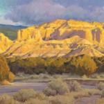 Chris Morel, Tesuque Evening, oil, 20 x 40.