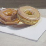 Dan Oakleaf, Two Donuts, oil, 9 x 12.