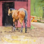 Kevin Weckbach, Horse and Red Home, watercolor, 21 x 28.