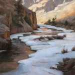 Dave Santillanes, Winter Passage Poudre Canyon, oil 36 x 36.