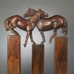Lisa Gordon, Side Pass, bronze, 24 x 21 x 4.