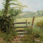 Over the Stile, oil, 11 x 14, by Ginger Whellock