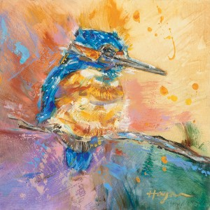 Carol Hagan, Baby Kingfisher Study #23, oil, 8 x 8.
